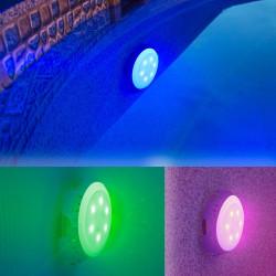 Foco proyector LED RGB colores válvula retorno piscina Gre L