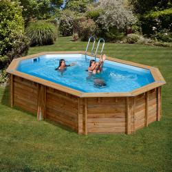 Piscina de madera Gre Sunbay Cannelle ovalada 551x351x119