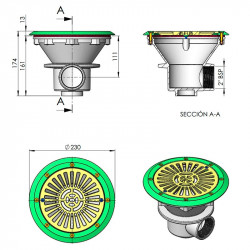Sumidero Ø 210 mm con rejilla ABS