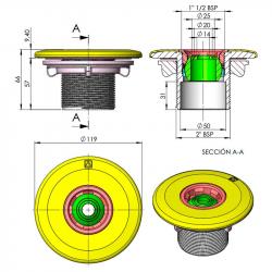 Boquilla de impulsión Multiflow piscina prefabricada