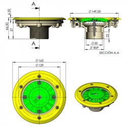 Boquilla fondo piscina prefabricada ext. Ø63mm int. Ø50mm