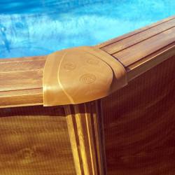 Piscina desmontable Sicilia ovalada imitación madera 5x3x1.2
