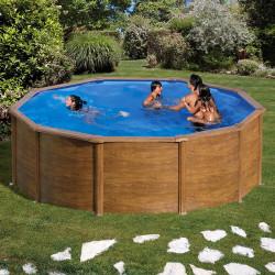 Piscina desmontable Gre Pacific circular imitación madera