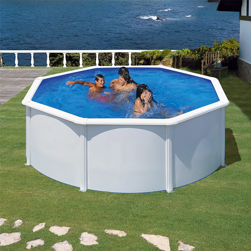 Piscina desmontable Gre Fidji circular acero chapa blanca