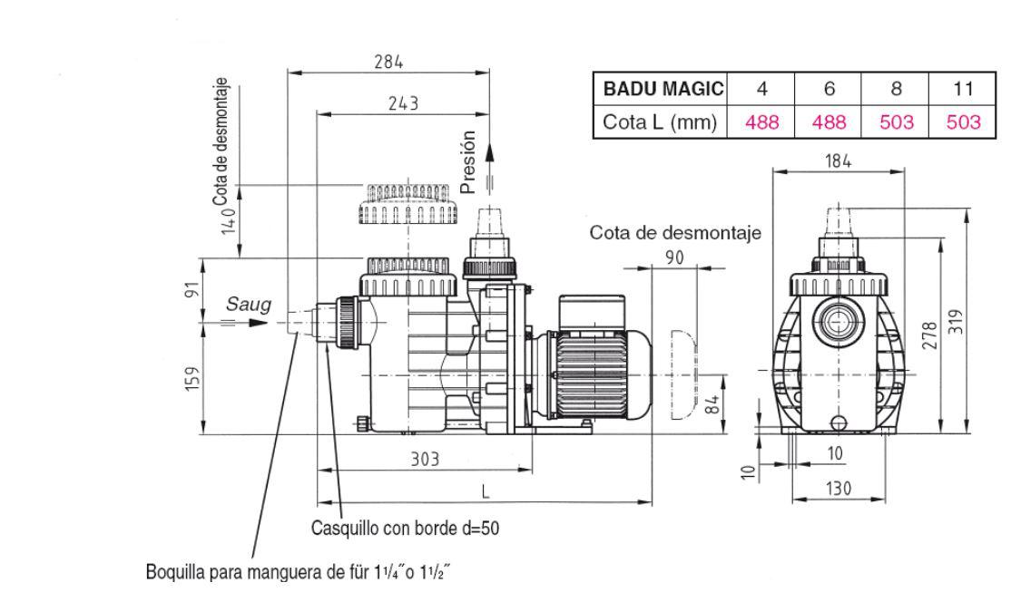 Dimensiones bomba Badu Bettar de Speck